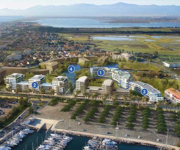 Canet-Plage, les résidences Bleu d'Ancre, Port d'Attache et Bleu Odyssée